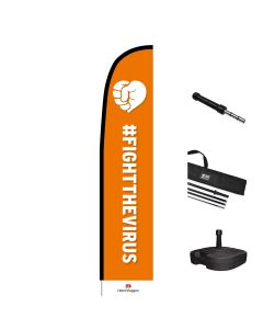 De Nationale #FightTheVirus! - Beachflag large 90x430 cm