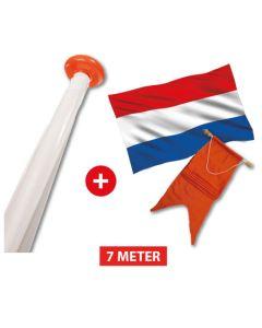 Vlaggenmast aanbieding complete set - mast 7 meter + vlag en wimpel